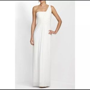 BCBG Maxazria Dress  Ivory White Gown one shoulder